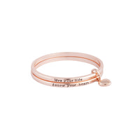 Rose Gold Follow Your Heart Double Bangle - link has visual effect only