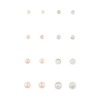 Rose Gold Graduating Ball and Diamante 8 Pack Stud Earrings