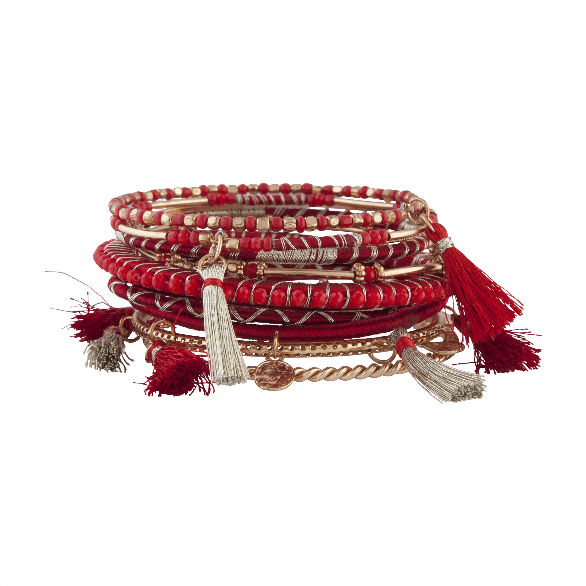 Red Rose Gold Tassel Bead Bangle Pack