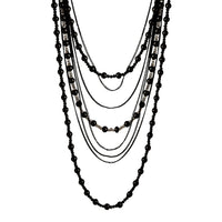 Layered Black Bead Lariat Necklace