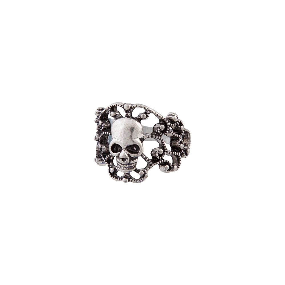 Antique Silver Skull Cluster Ring