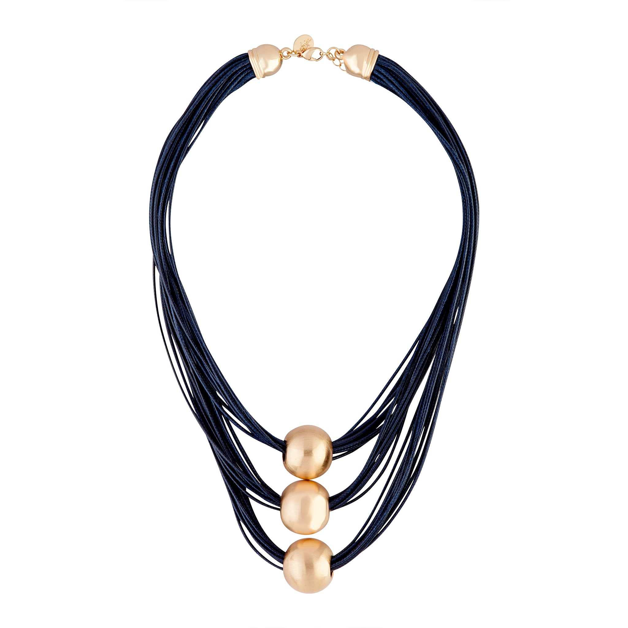 Midnight Navy Gold Ball Trio Necklace