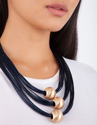 Midnight Navy Gold Ball Trio Necklace - link has visual effect only