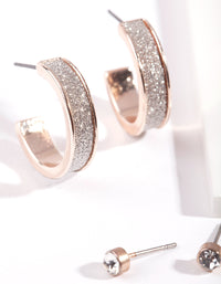Rose Gold Glitter Hoop Earring 3 Pack - link has visual effect only