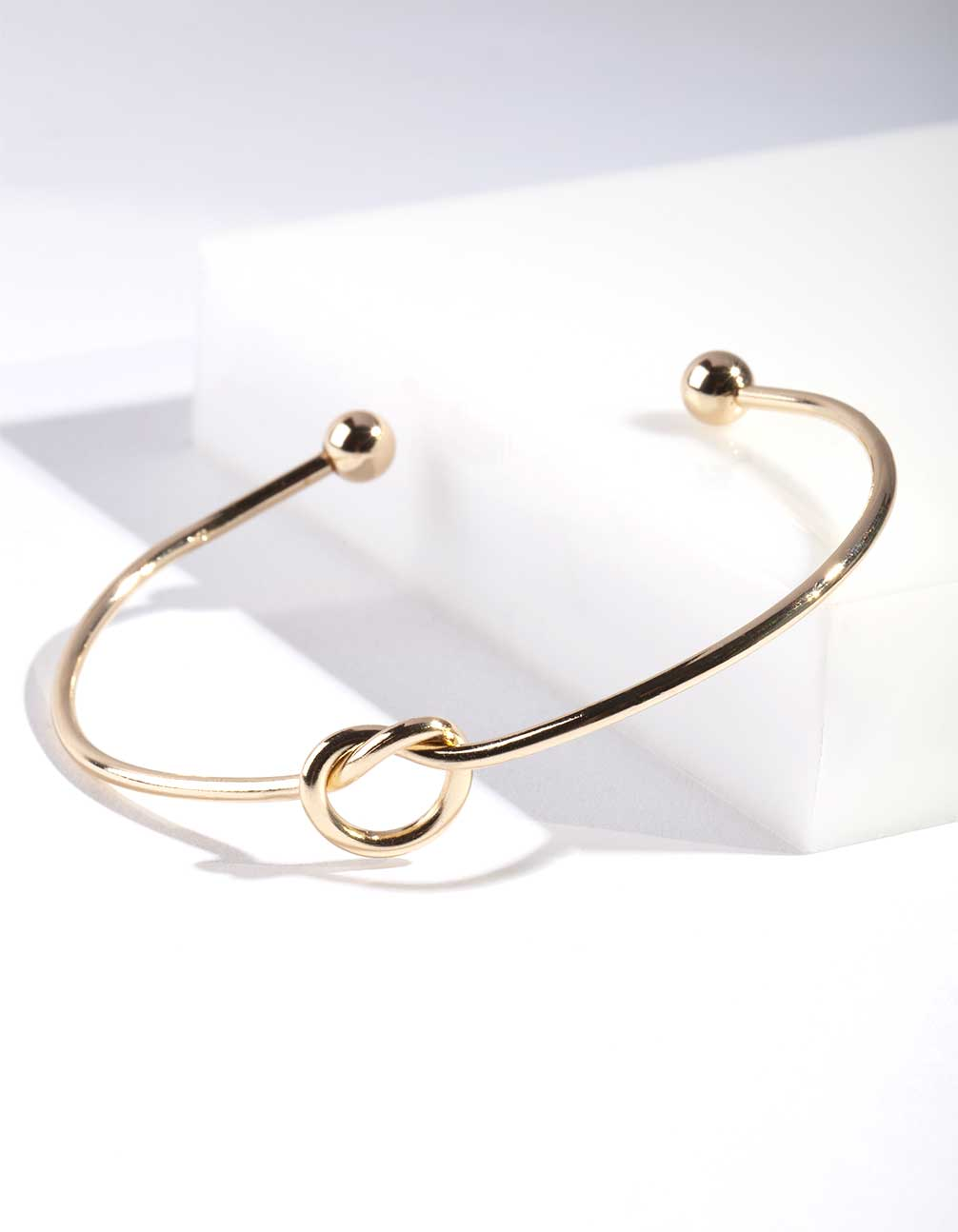 Fine Gold Knotted Open Cuff