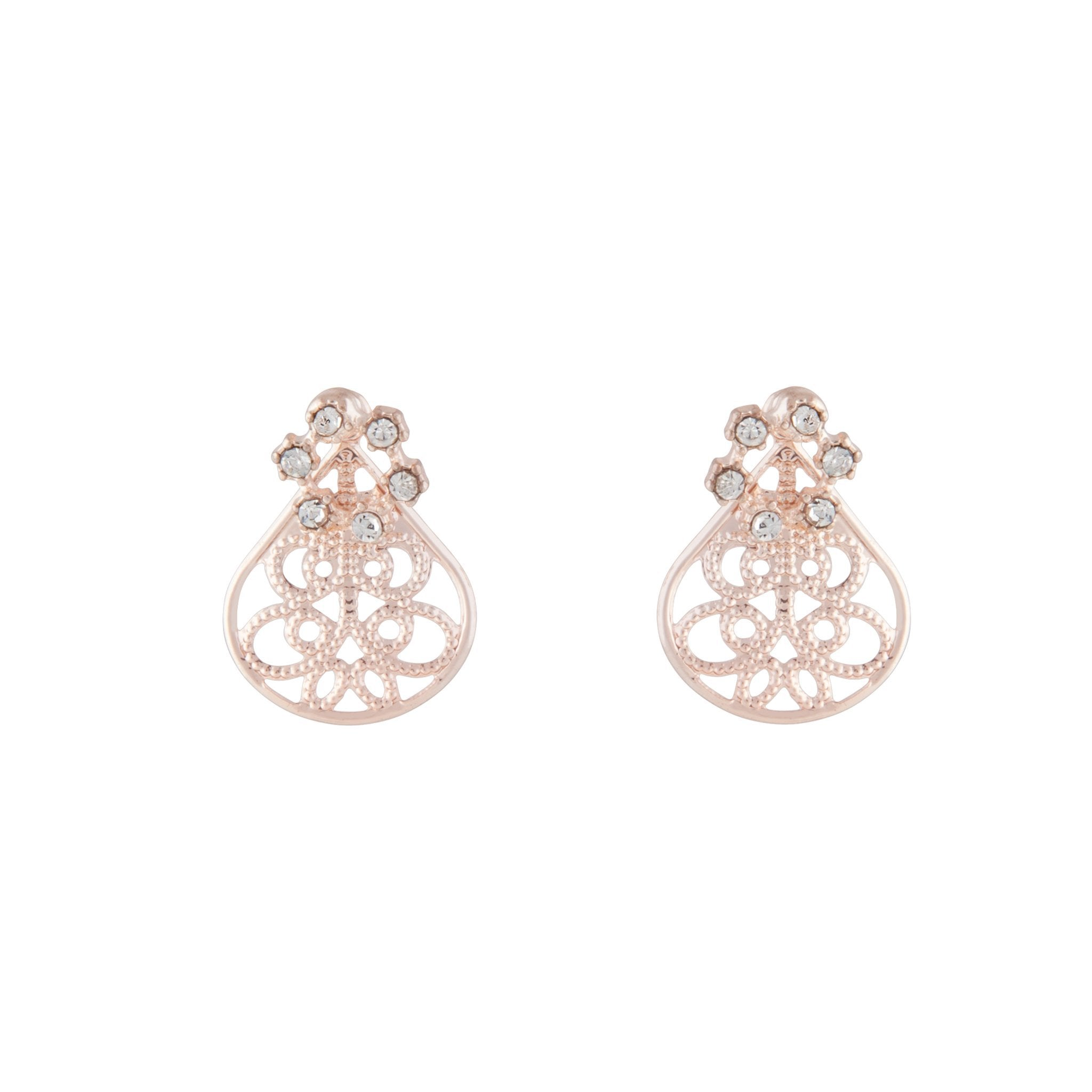 Rose Gold Filigree Sandwich Stud Earring
