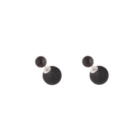 Rhodium Black Round Sandwich Stud Earrings
