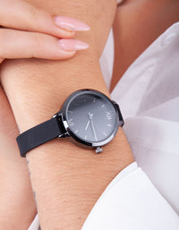 Black Plain Skinny Strap Watch