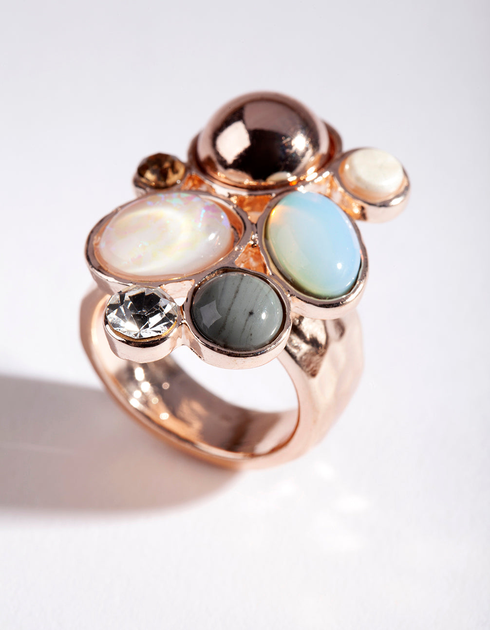 Rose Gold Multi Stone Irregular Ring