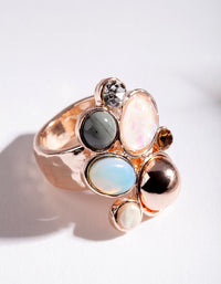 Rose Gold Multi Stone Irregular Ring - link has visual effect only