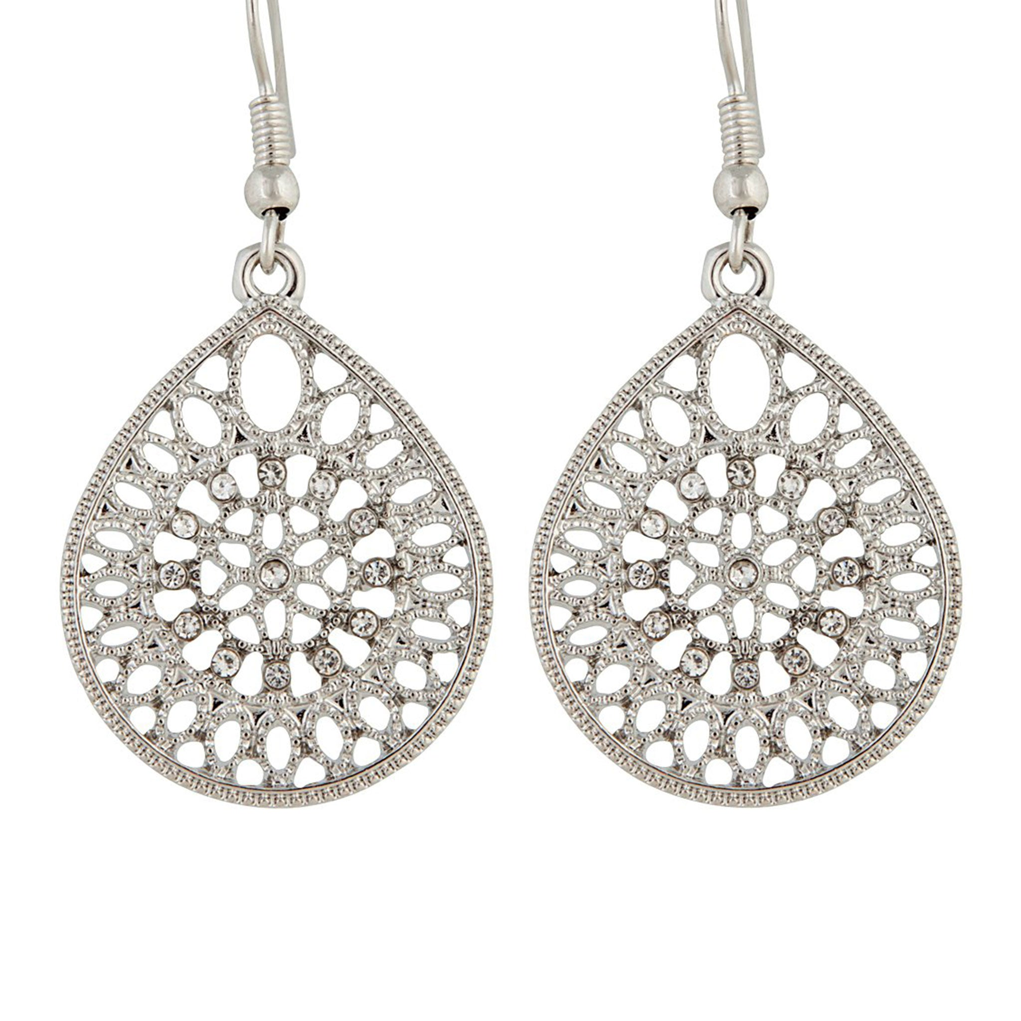 Rhodium Teardrop Filigree Earring