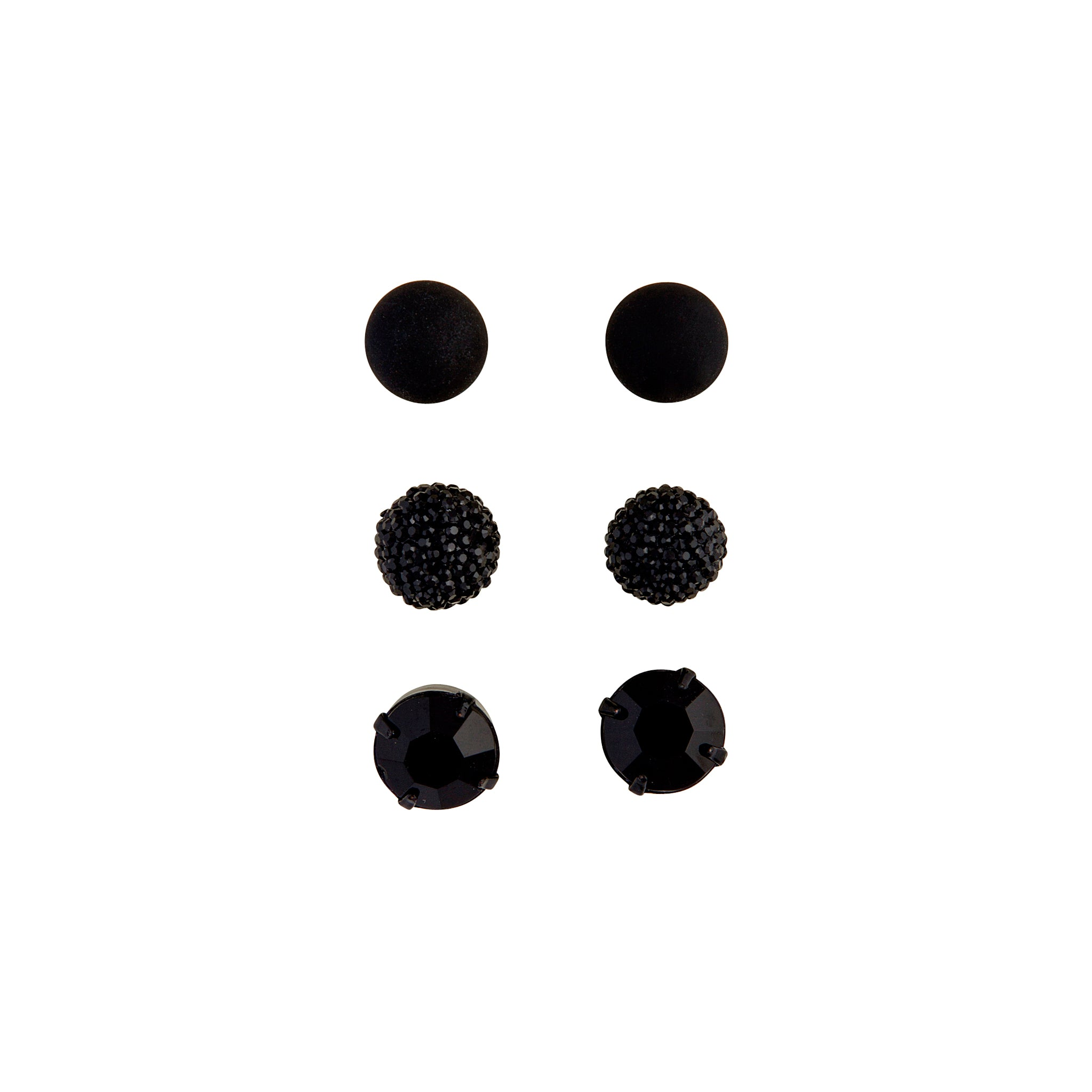 Black Jelly Diamante Earring 3 Pack