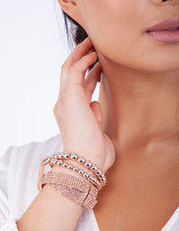 Rose Gold Bead and Mesh Bracelet 3 Pack - link has visual effect only