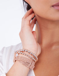 Rose Gold Bead and Mesh Bracelet 3 Pack