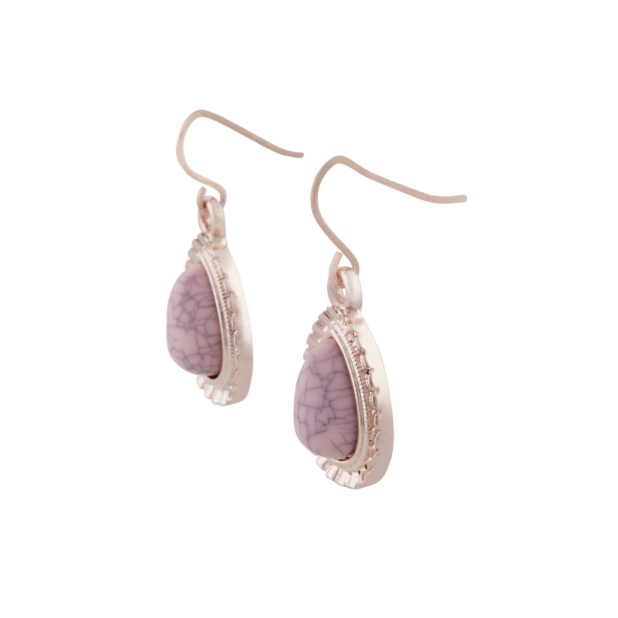 Pink Centre Stone With Diamante Teardrop Earring