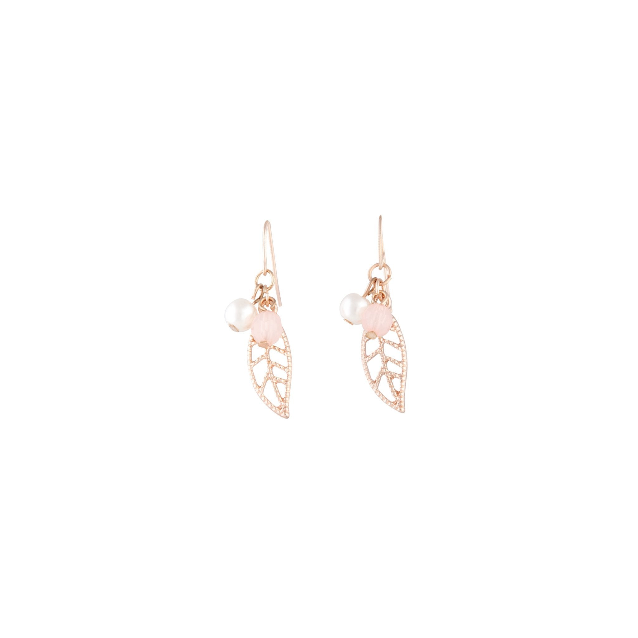 Rose Gold Pink Bead Leaf Drop Earring