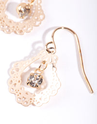 Gold Mini Ornate Drop Earrings - link has visual effect only