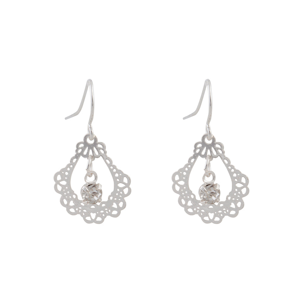 Ornate Silver Drop Earring With Centre Diamante