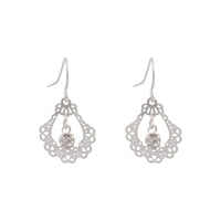 Ornate Silver Drop Earring With Centre Diamante - link has visual effect only