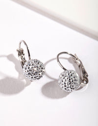 Rhodium Sparkle Ball Clip Earring - link has visual effect only