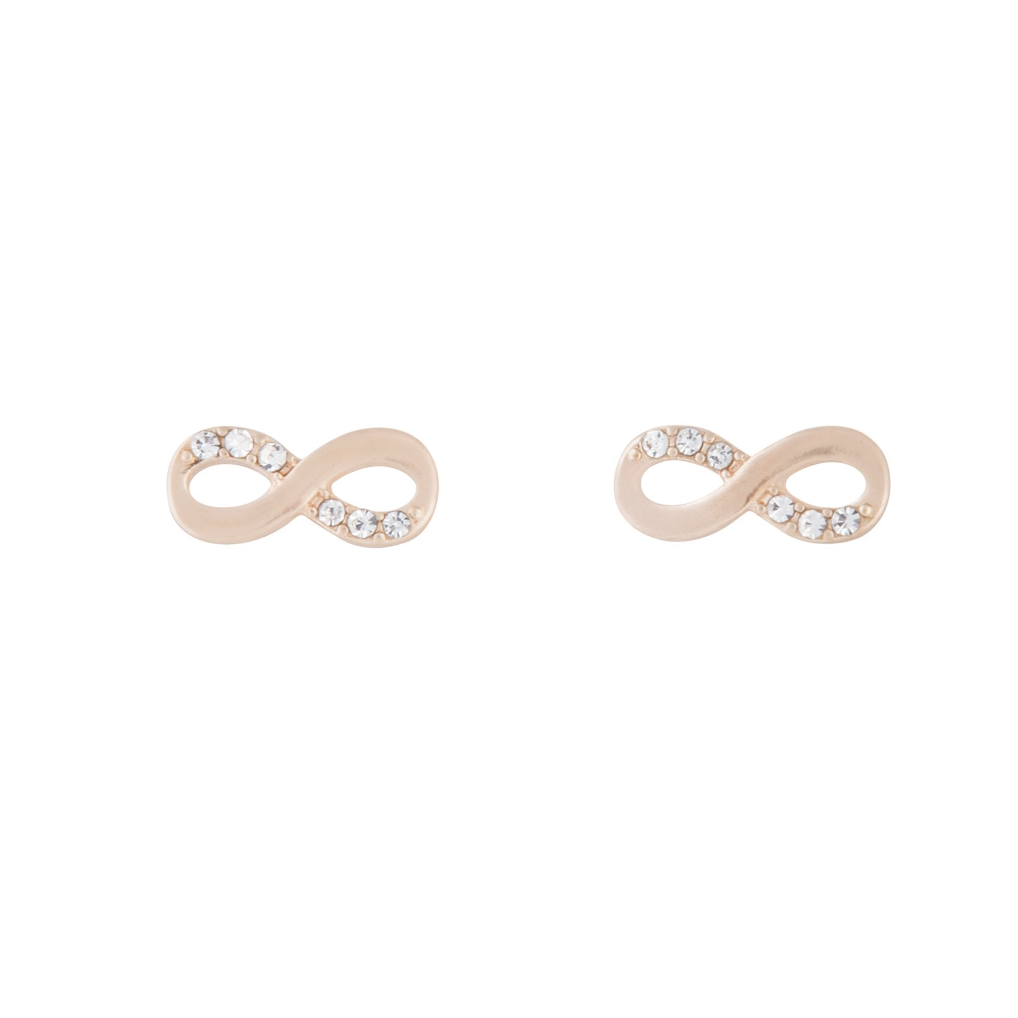 Rose Gold Infinity Diamante Stud Earring