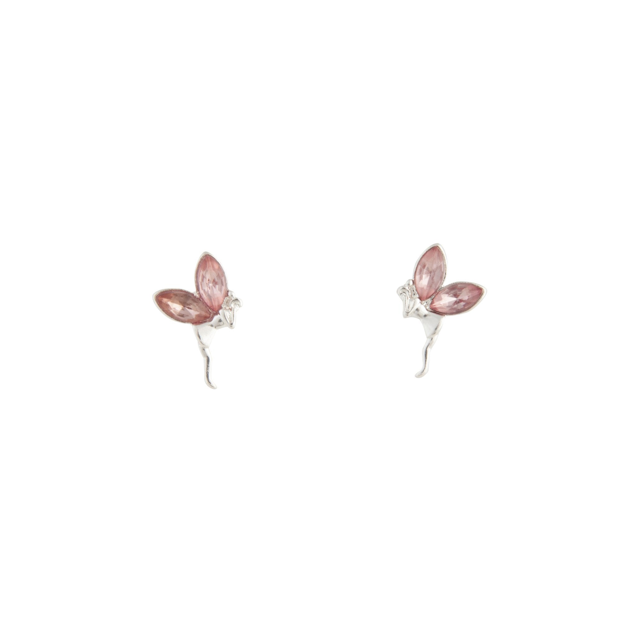 Rhodium Metal Fairy Stud Earrings