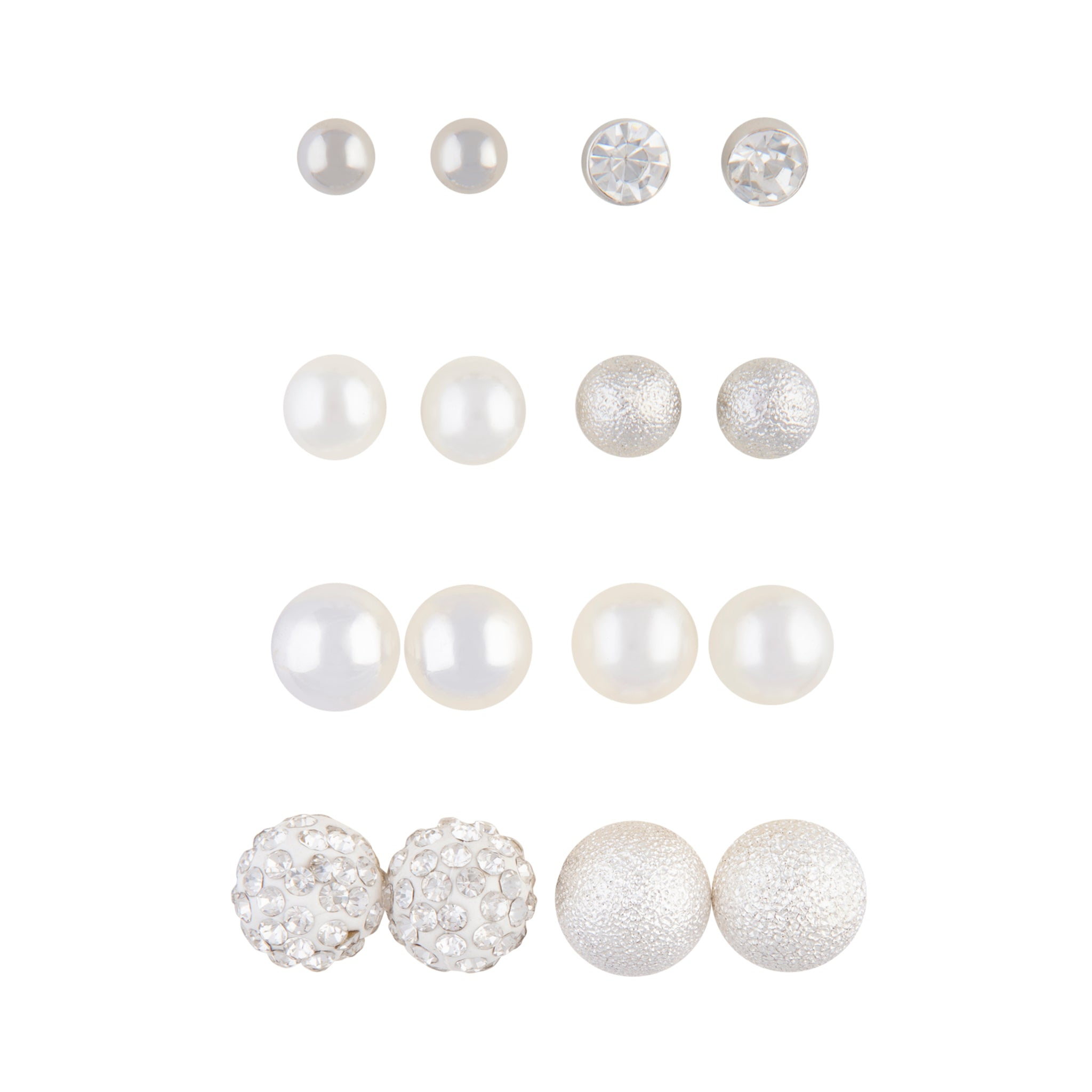 Silver Ball Pearlised Bead Mixed Stud 8 Pack