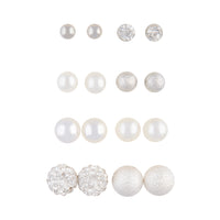 Silver Ball Pearlised Bead Mixed Stud 8 Pack - link has visual effect only