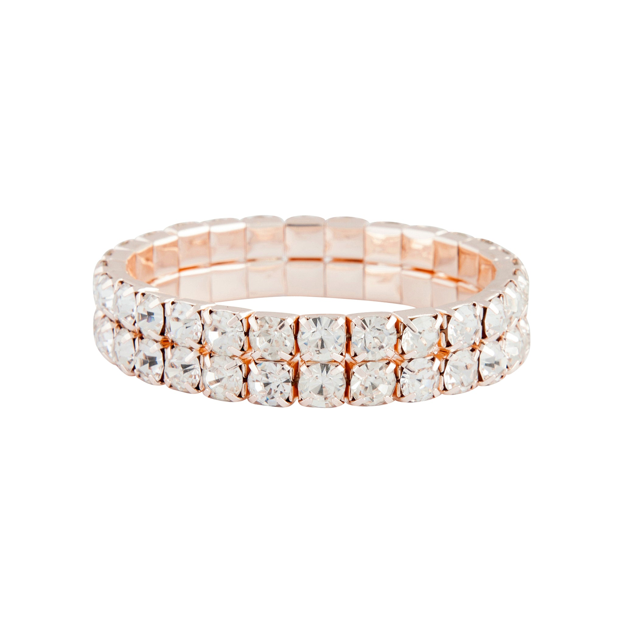 Rose Gold Duo Diamante Stretch Bracelet