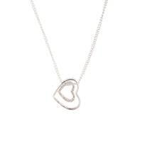 Silver Double Heart Necklace - link has visual effect only