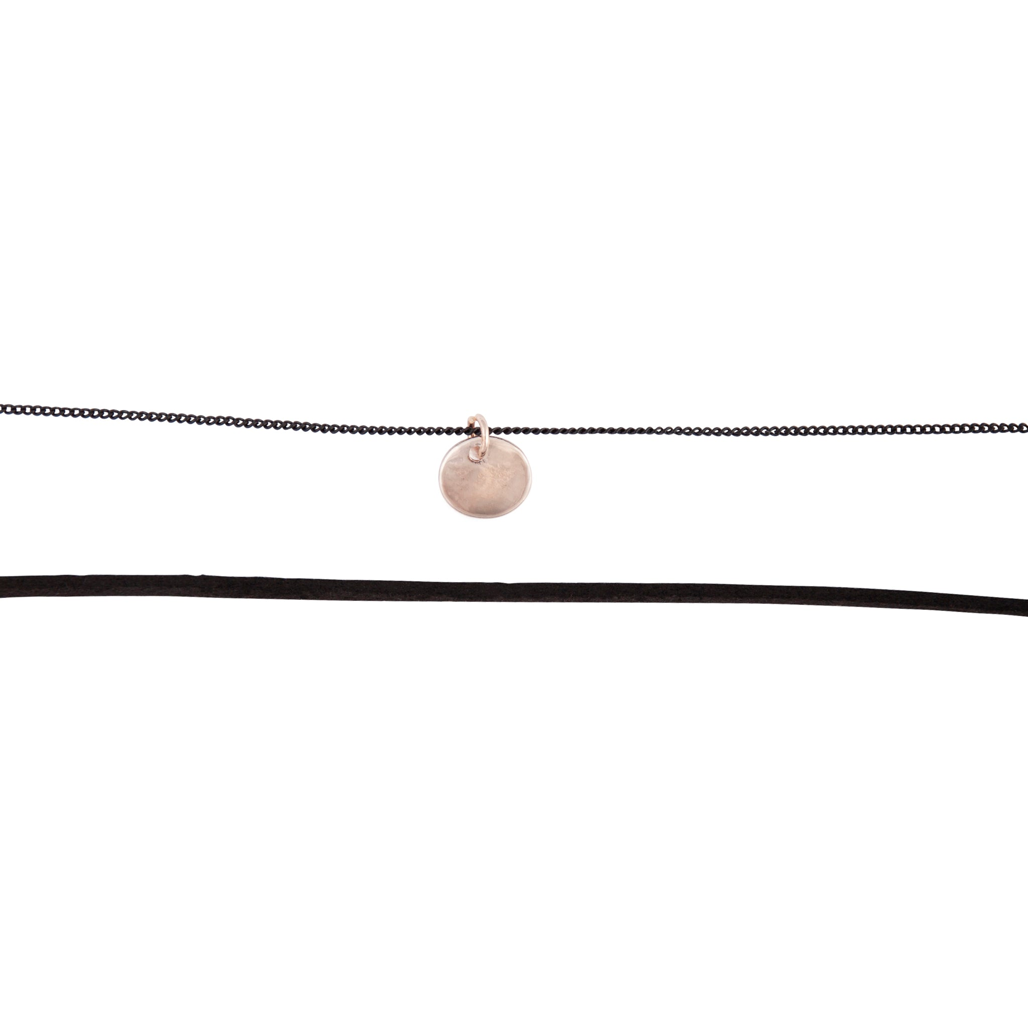Rose-gold-toned Black Disc Chain Choker