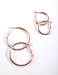 Rose Gold Polished Hoop Earring 2 Pack - link has visual effect only
