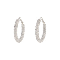Crystal Encrusted Chunky Silver Hoop Earring | Earrings | Lovisa Jewellery Australia | Gift Idea Girl