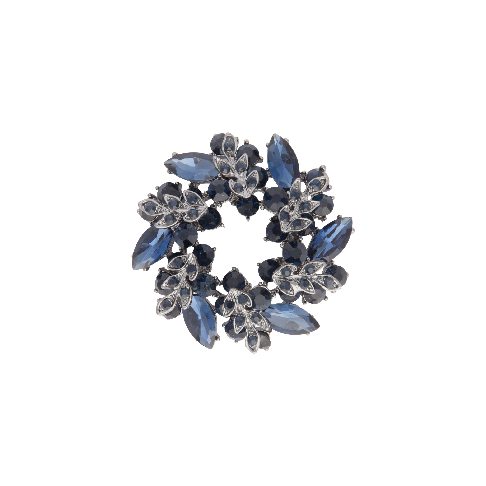 Navy Crystal Wreath Brooch