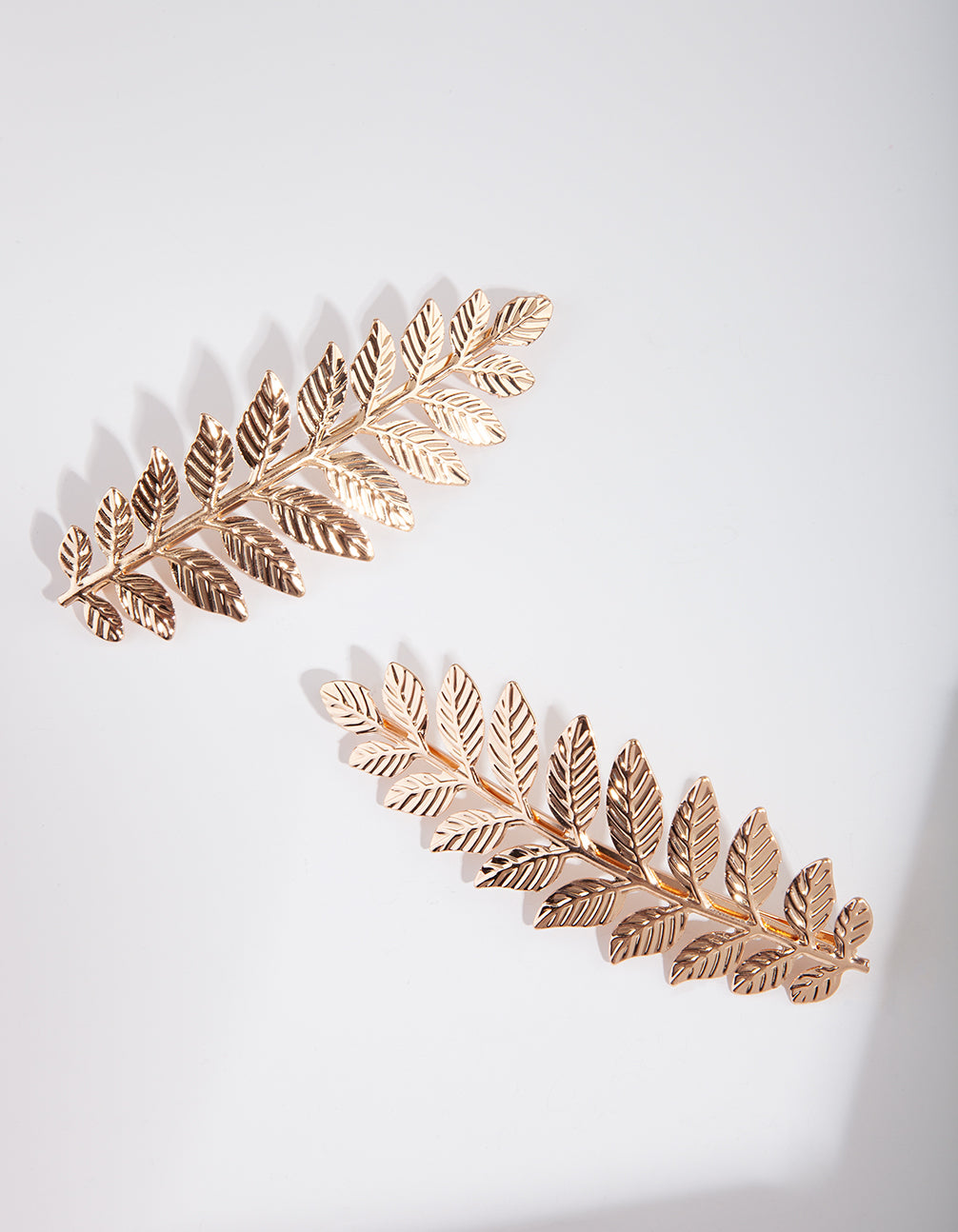 Gold Double Leaf Hair Clip Pack