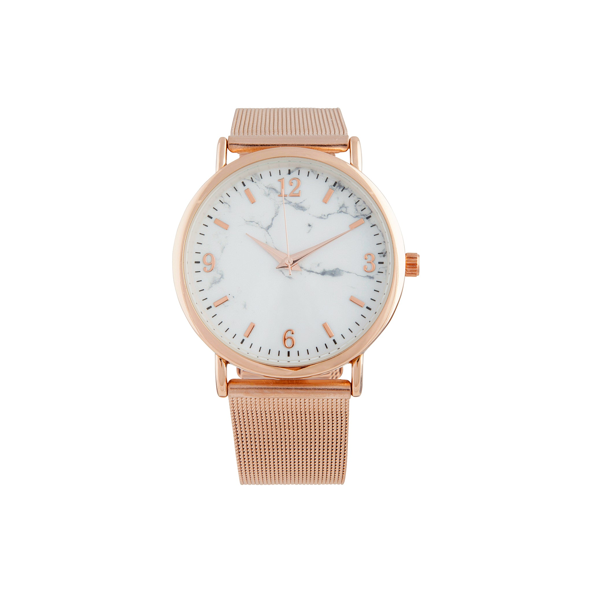 Rose Gold Marble Mesh Strap Watch