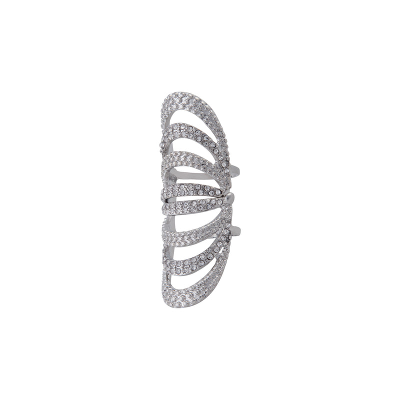 SILVER DIAMANTE ARCHED ARMOUR RING