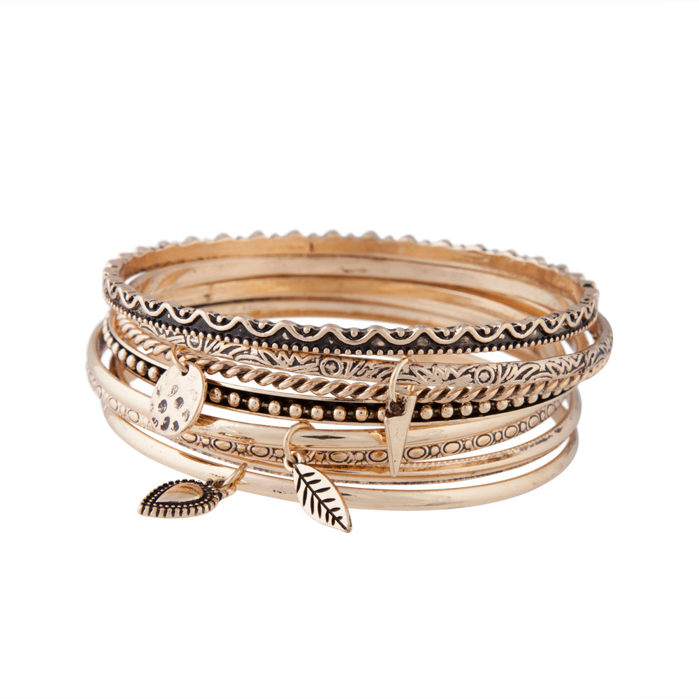 Gold Etched Coin Charm Bangle Pack