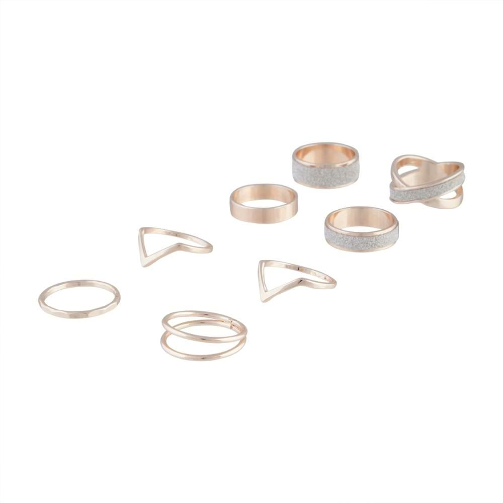 Rose Gold Contrast Glitter Band Ring Pack