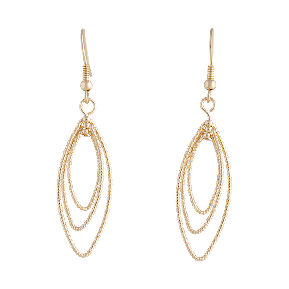 Gold Triple Diamond Cut Navette Drop Earring