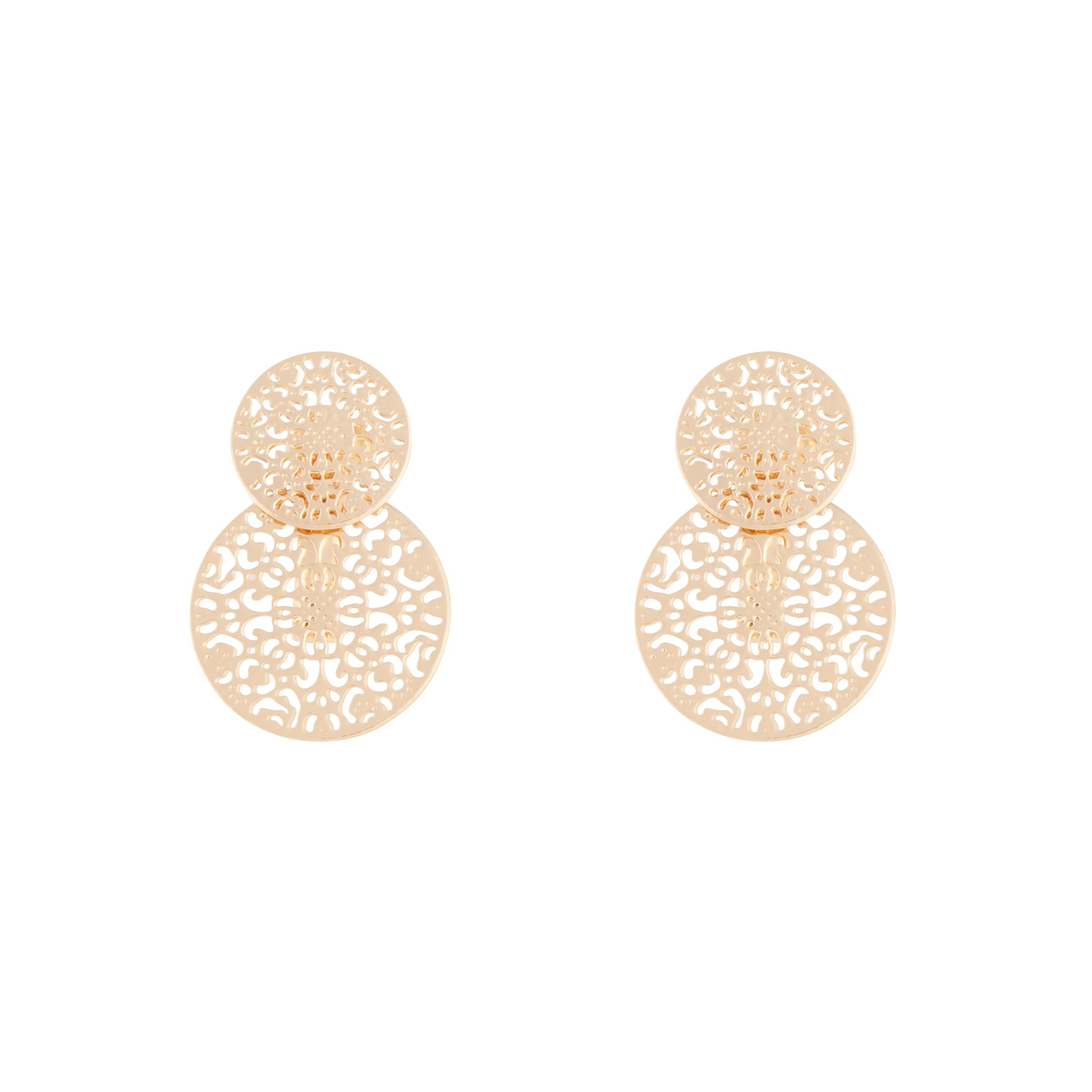 Gold Circle Filigree Jacket Earring