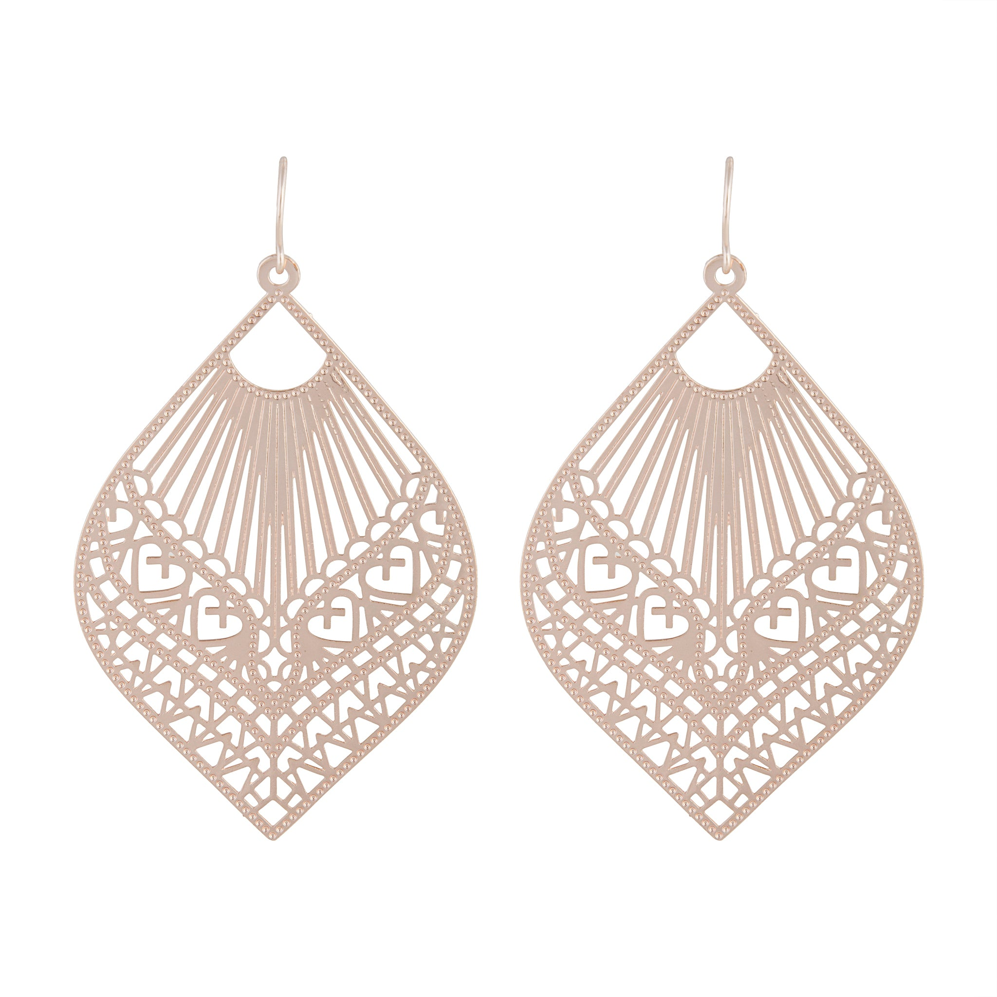 Rose Gold Heart Stamp Drop Earring