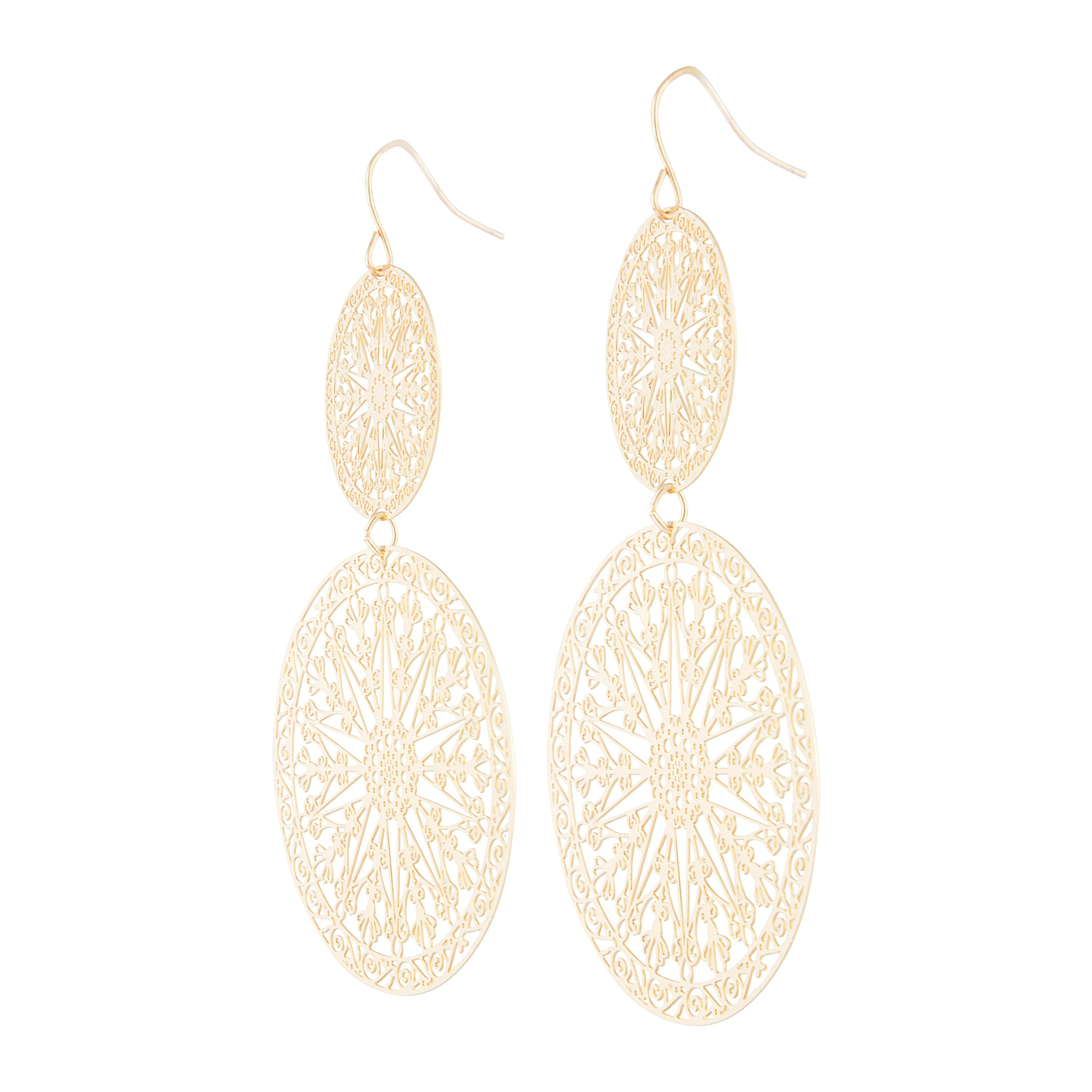 Gold Aztec Disc Drop Earring