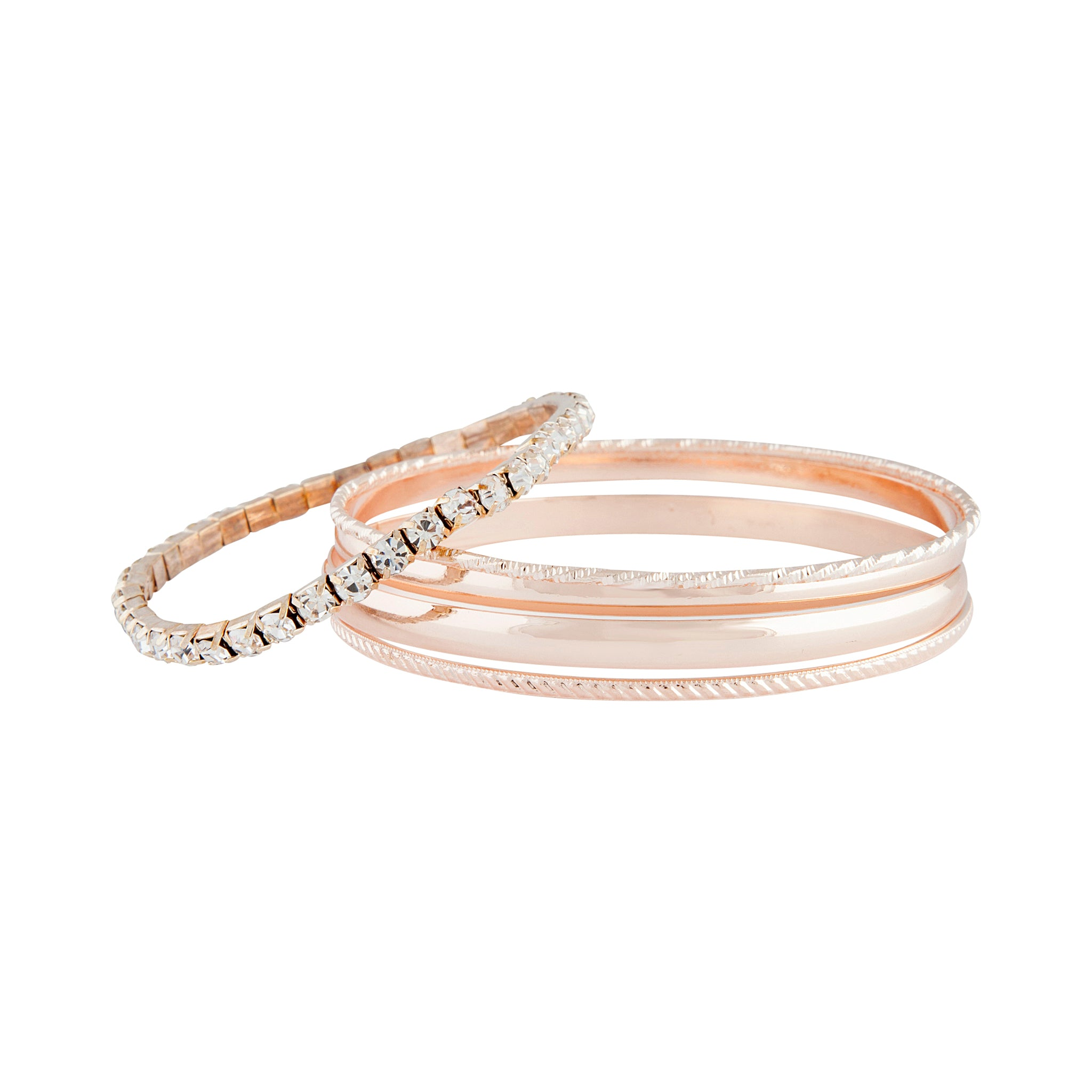 Rose Gold Shiny Duo Bangle 5 Pack
