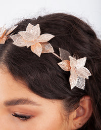 Rose Gold Cluster Leaf Headband
