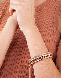 Gold Facet Bead Mesh Bracelet Set - link has visual effect only