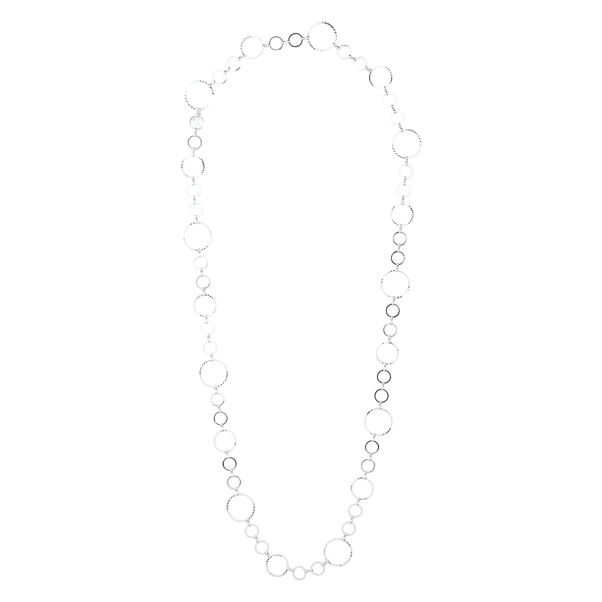Silver Diamond Cut Multi Circle Lariat Necklace