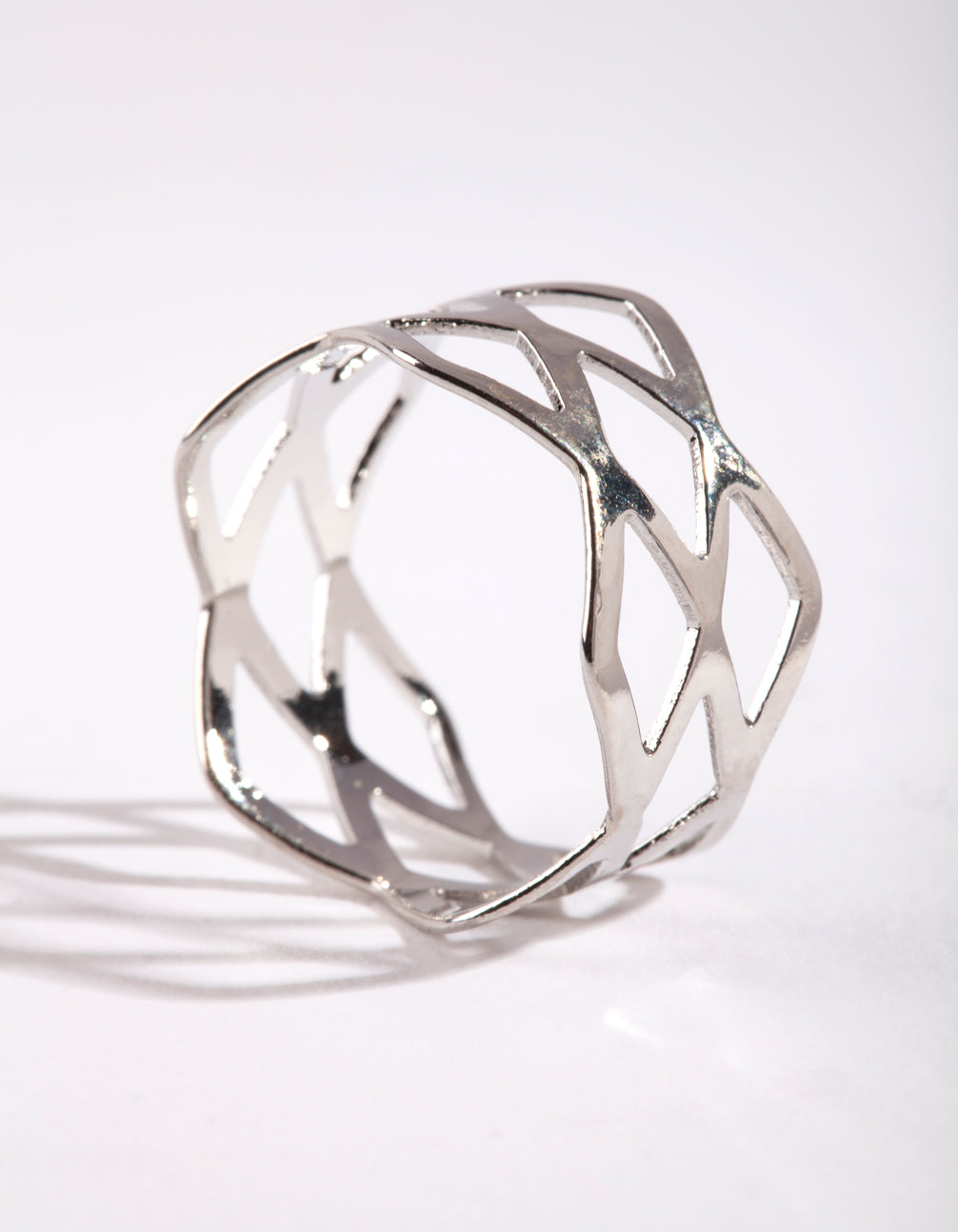 Rhodium Multi Cross Over Ring
