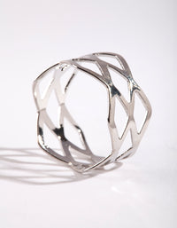 Rhodium Multi Cross Over Ring - link has visual effect only