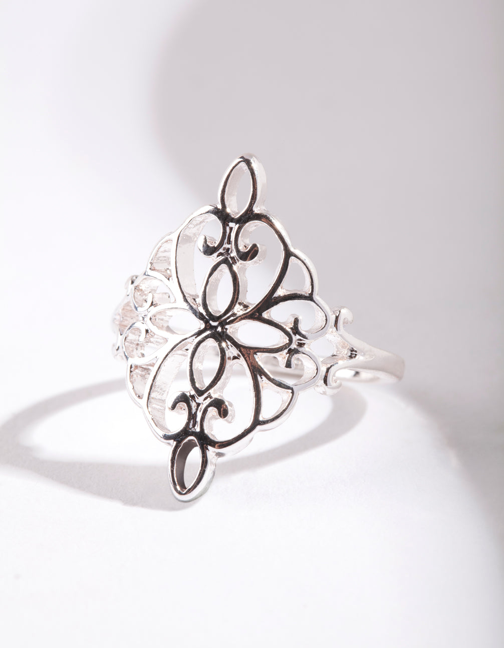 Silver Metal Filigree Ring